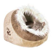 Beżowe, pluszowe legowisko dla psów i kotów - 41x30x50cm