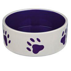 Miska dla psów, ceramiczna - fioletowe łapki, pojemność 1,4 l