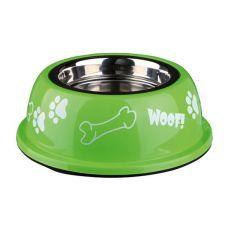Miska dla psa z plastikową krawędzią, zielona - 0,45 L