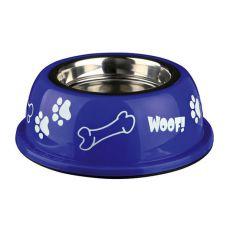 Miska dla psa z plastikową krawędzią, granatowa - 0,45 L
