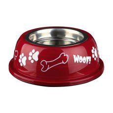 Miska dla psa z plastikową krawędzią, czerwona - 0,9 L