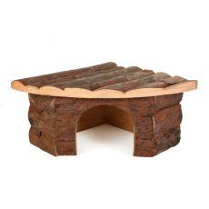 Drewniany domek dla gryzoni, narożny- 22x15x10,5cm