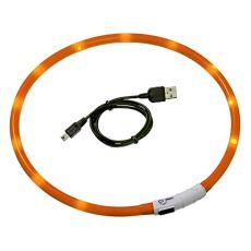 Świecąca obroża LED dla psa - 70 cm, pomarańczowa