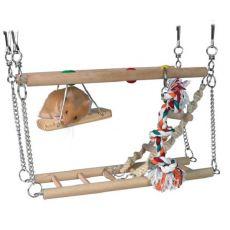 Drewniana piętrowa zabawka do wspinania, do powieszenia - 27x16x10