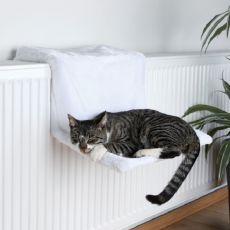 Pluszowe legowisko dla kotów do zawieszenia na grzejnik, białe - 45x24x31