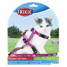 Fioletowa uprząż i smycz dla kota, z wzorem