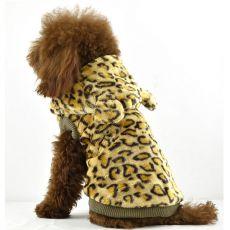 Kożuch dla psa - lampart z kapturem, złoty - XL