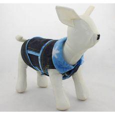 Dżinsowa kamizelka dla psa - niebieskie kwiaty, M