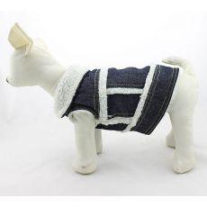 Dżinsowa kamizelka dla psa - biały kożuszek, S