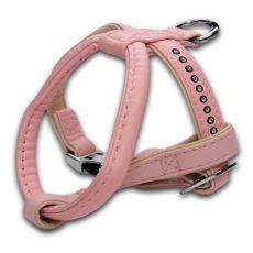Uprząż dla psa z kamyczkami, różowa - 1,5x25x30cm