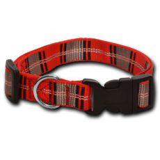 Nylonowa obroża dla psa w czerwono-popielatą kratkę 1,6 x 25-39 cm