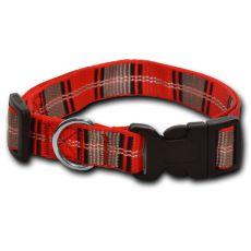 Nylonowa obroża dla psa w czerwono-popielatą kratkę 2 x 33-51 cm