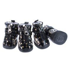 Beżowe buty dla psów - błyszczące we wzór lamparta, L