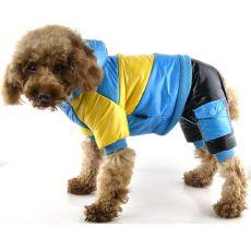 Kurtka dla psa - żółto-niebieska, XS