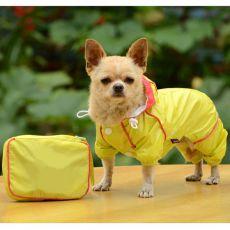 Płaszcz przeciwdeszczowy dla psa w torebce - żółty, S