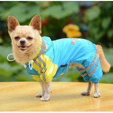 Płaszcz przeciwdeszczowy dla psa z wzorem dziewczynki – niebieski,  XS