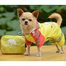 Płaszcz przeciwdeszczowy dla psa z wzorem dziewczynki – żółty, XS