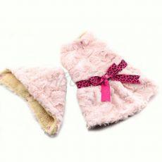 Sweterek dla psa – różowy z kapturem i wstążką - XXL