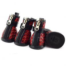 Buty dla psów - z plecionym wzorem w kolorze czerwonym, M