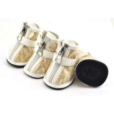 Beżowe buty dla psów - ze srebrnym wzorem, M