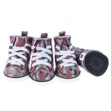 Czerwone buty dla psów – we wzór moro, L