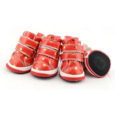 Czerwone buty dla psów z serduszkami, zapinane na rzepy, M