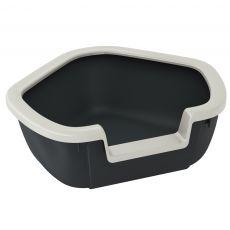 Narożna kuweta dla kotów DAMA - czarna - 57,5 x 51,5 x 22 cm