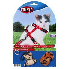 Uprząż ze smyczą i zabawką dla kota - czerwona