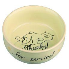 Wysoka miska z rysunkiem kota, ceramiczna - 0,3l