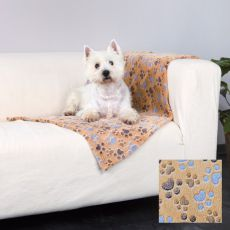 Koc LASLO dla psów - beżowy z psimi łapkami, 100 x 70 cm