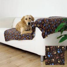 Koc LASLO dla psów - brązowy z psimi łapkami, 100 x 70 cm