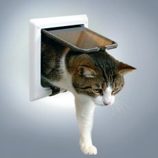 Drzwiczki dla kotów z tunelem - białe 21 x 21 cm