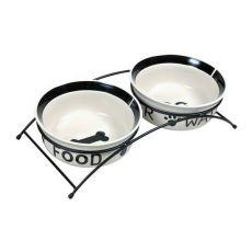 Dwie ceramiczne miski ze stojakiem - 2 x 0,6 l