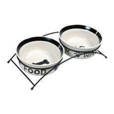 Dwie ceramiczne miski ze stojakiem - 2 x 2,6 l