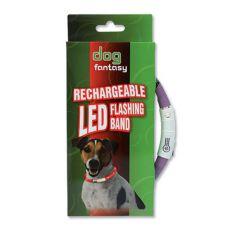Świecąca obroża dla psa DOG FANTASY - fioletowa, 70 cm